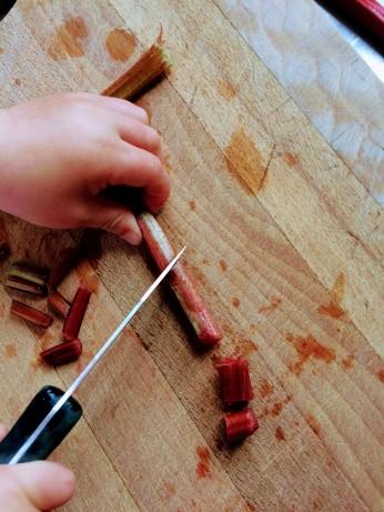 rabarber, skærer, børn i køkkenet