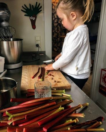 rabarber, børn i køkkenet